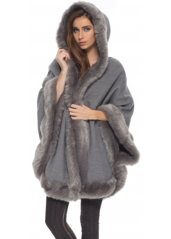 Grey Hooded Poncho Coat With Faux Fur Trim