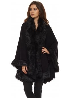 Black Soft Fully Trimmed Faux Fur Knitted Cape