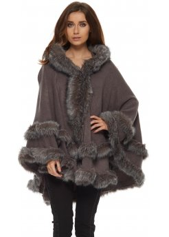 Double Layered Hooded Faux Fur Grey Poncho