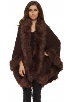 Chocolate Brown Fully Trimmed Faux Fur Knitted Cape