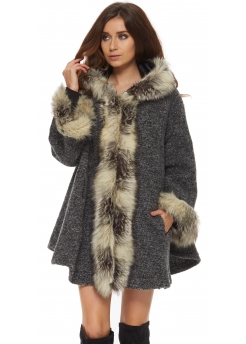 Grey Faux Fur Hooded Short Swing Coat