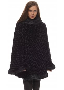 Black Textured Thick Faux Fur Polo Poncho