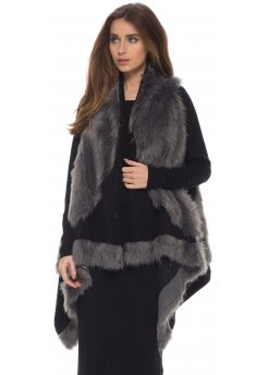Grey & Black Thick Fluffy Oversized Long Faux Fur Gilet