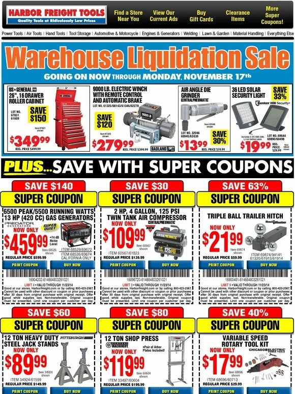 Harbor freight super saver coupons