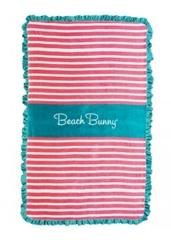 Beach Towel In Pink & White Stripes With Jade Frills