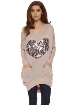 Baby Pink Sequinned Heart Oversized Jumper
