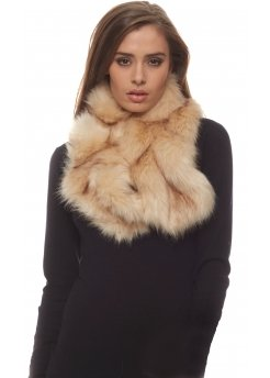 Beige Elasticated Thick Faux Fur Scarf