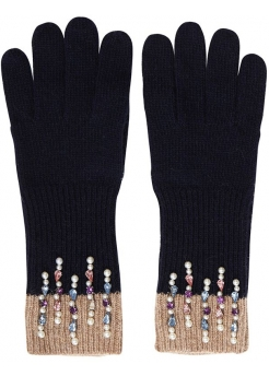 Navy & Beige Delicate Pearl & Gem Gloves