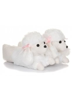 Snuggly White Poodle Novelty Slippers