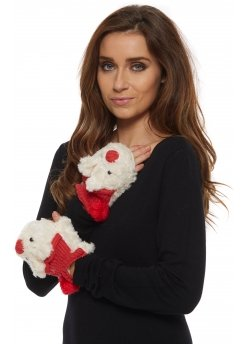 Cute Teddy Bear Red Faux Fur Fingerless Gloves