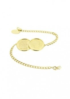 Two Coin Premium Holly Bracelet In Gold