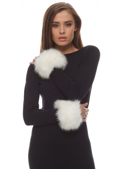 Thick Winter White Fluffy Faux Fur Cuffs