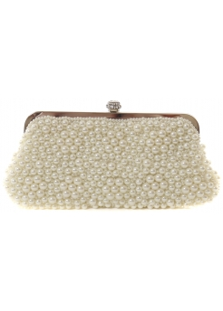 Ivory White Pearl Clutch Bag With Diamonte Clasp & Silver Chain