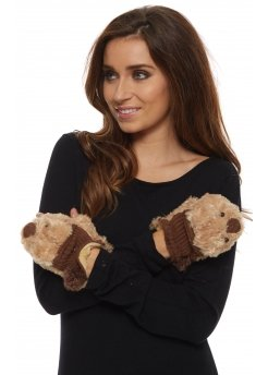 Cute Teddy Bear Brown Faux Fur Fingerless Gloves