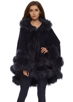 Double Layered Hooded Faux Fur Navy Poncho