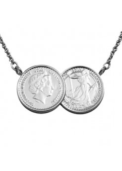 Grand Classic Two Coin Silver Platinum Necklace