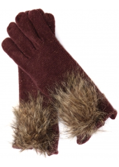 Burgundy Lurex Knit Faux Fur Pom Pom Gloves