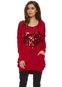 Red Sequinned Heart Oversized Jumper