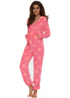 Neon Pink Soft Fleece Coral Hearts Onesie