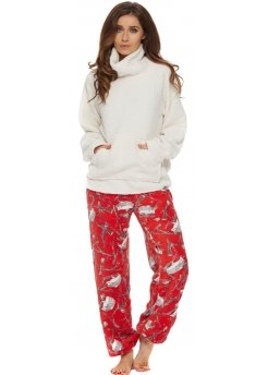 Red Hedgehog Forest Print Fleece Pyjama Set