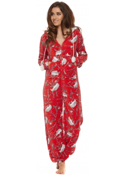 Red Hedgehog Forest Print Fleece Onesie