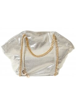 Joey Bag Oversized Gold Tote Bag With Chain Detail & Handles