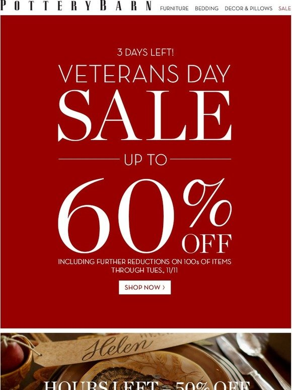 Pottery Barn Veterans Day Sale Ends In Days Plus Hours