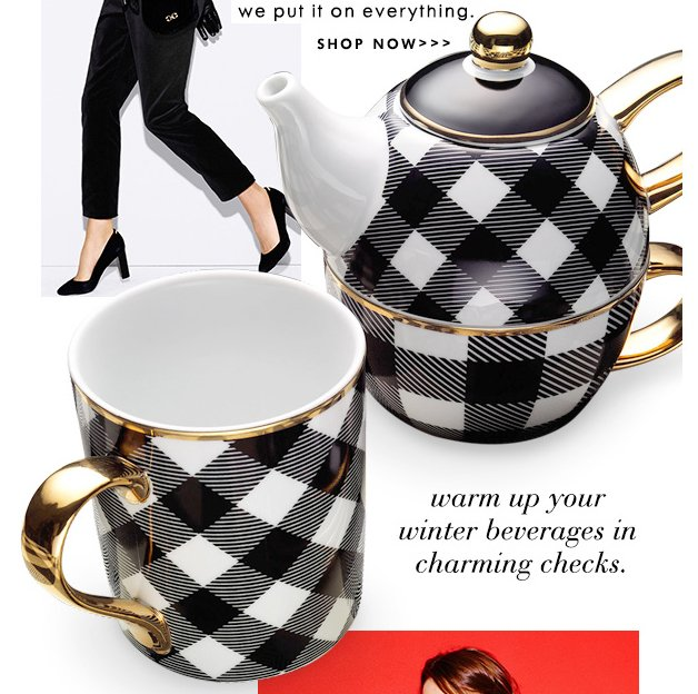 Warm up your winter beverages in charming checks.
