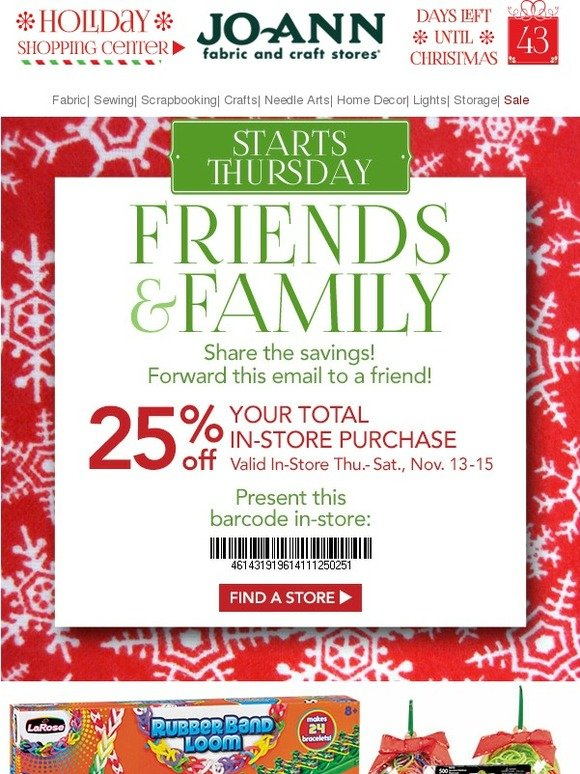Jo ann fabric and craft store friends family savings for Jo ann fabric and craft coupons