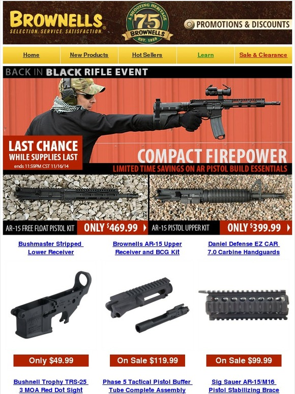 Brownells: Up To $100 Off Compact Firepower Deals | Black