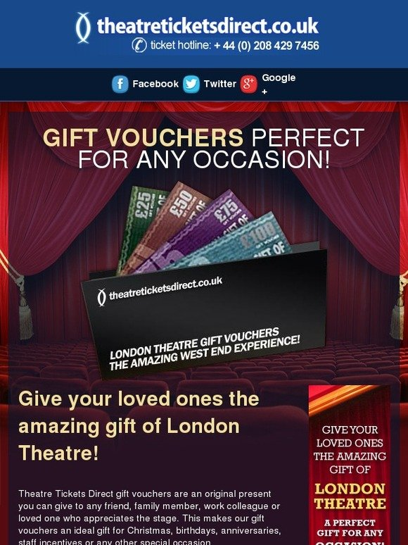 Theatre Tickets Direct: This Christmas, give your loved ones the wonderful gift of London Theatre! From just £25.00   Milled
