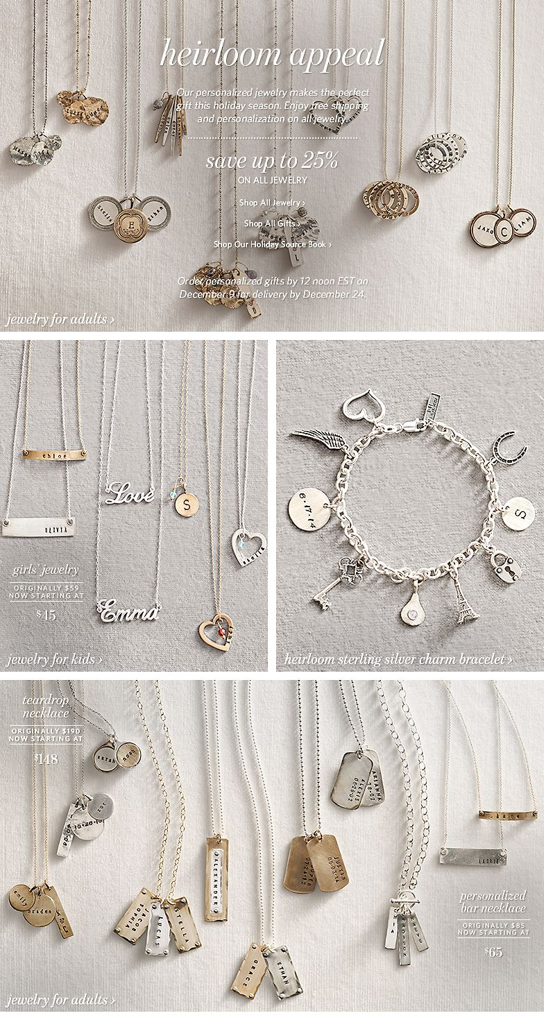 Restoration hardware save up to 25 on personalized jewelry gifts shop all new holiday arrivals personalized jewelry negle Image collections