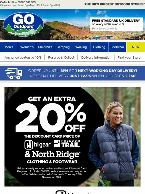 go outdoors 20 off north ridge hi gear clothing and. Black Bedroom Furniture Sets. Home Design Ideas