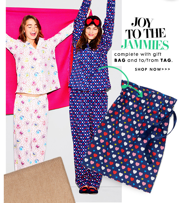 Joy to the jammies. Complete with gift bag and to/from tag.