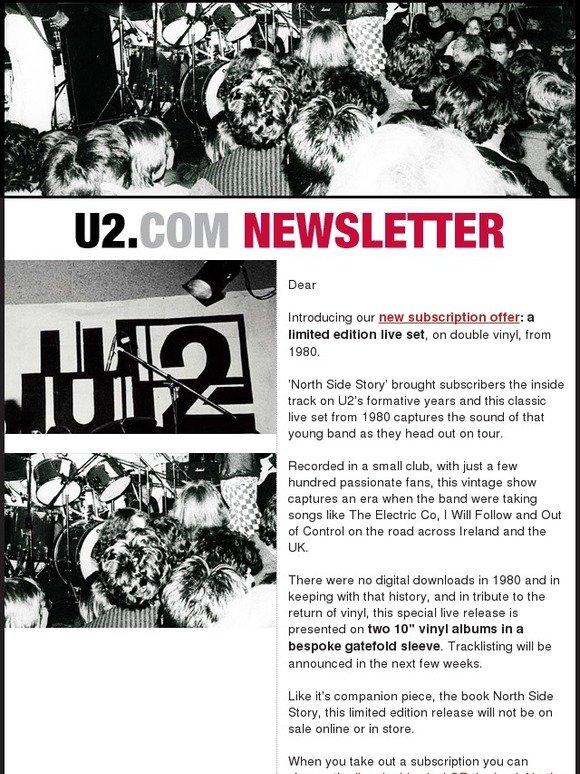 U2: Announcing 2014/15 U2 com Subscription - Rare 1980 Live