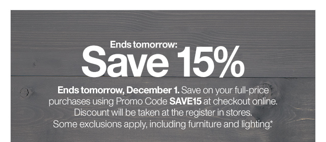 Crate And Barrel Ends Tomorrow 15 Off Free Shipping