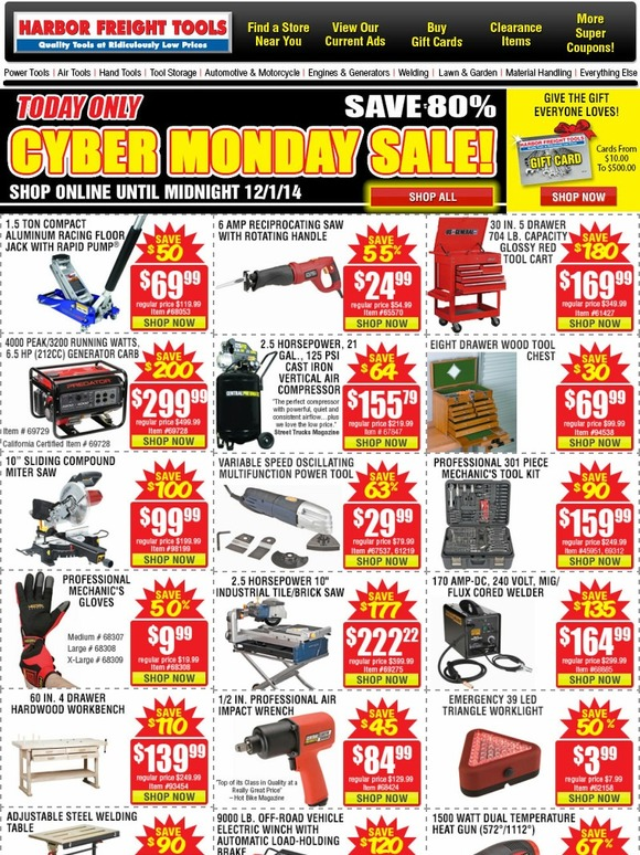 harbor freight huge cyber monday sale one day only save up to 80 milled. Black Bedroom Furniture Sets. Home Design Ideas
