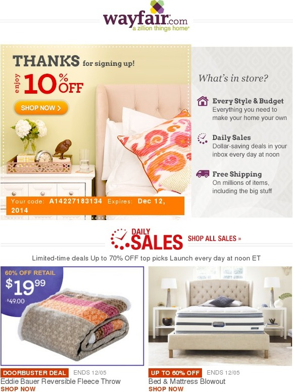 Wayfair Welcome To Wayfair Take 10 Off Your First Order