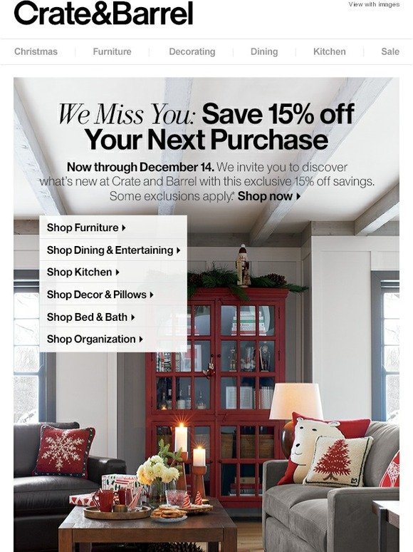 Crate and barrel 15 off coupon 2018