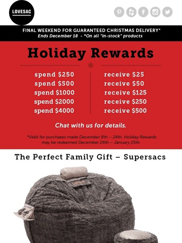 Lovesac Final Weekend For Guaranteed Christmas Delivery