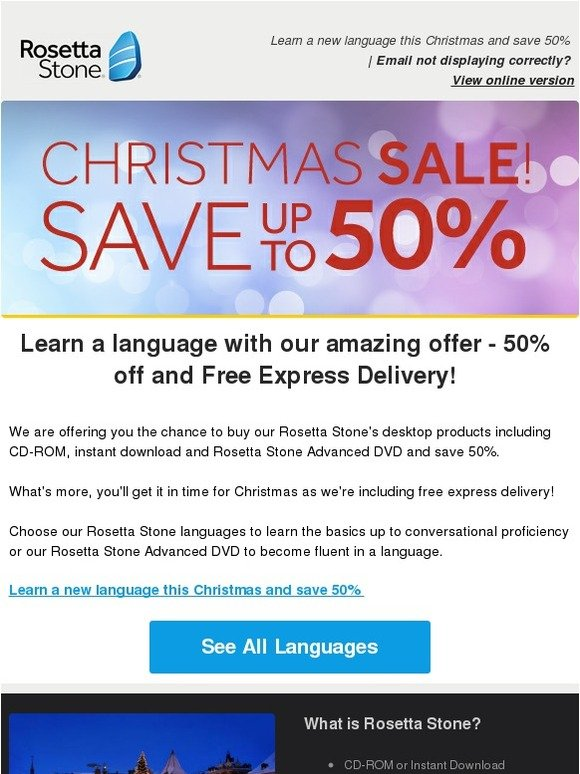 Rosetta Stone UK: Free Express Delivery and 50% off all our