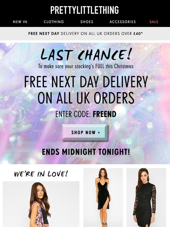 free next day delivery code pretty little thing