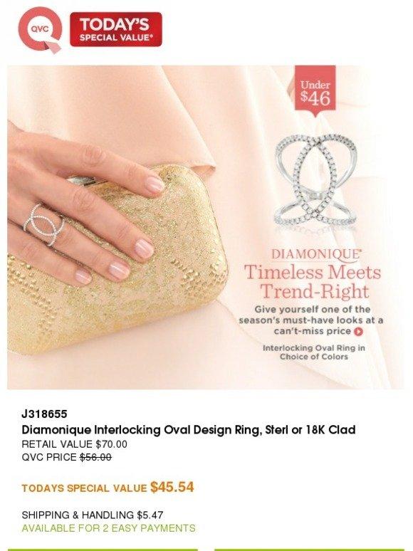Diamonique Interlocking Oval Design Ring