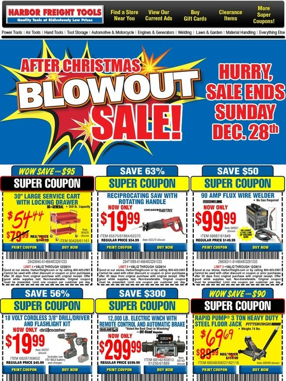 harbor freight after christmas blowout sale save up to 70 with super coupons sale ends. Black Bedroom Furniture Sets. Home Design Ideas