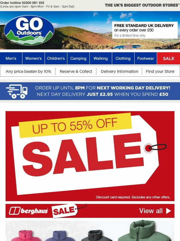 go outdoors sale save on great brands like berghaus. Black Bedroom Furniture Sets. Home Design Ideas
