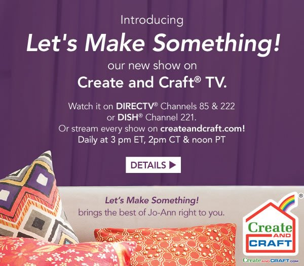 Jo ann fabric and craft store shop great deals on the new for Watch create and craft tv online