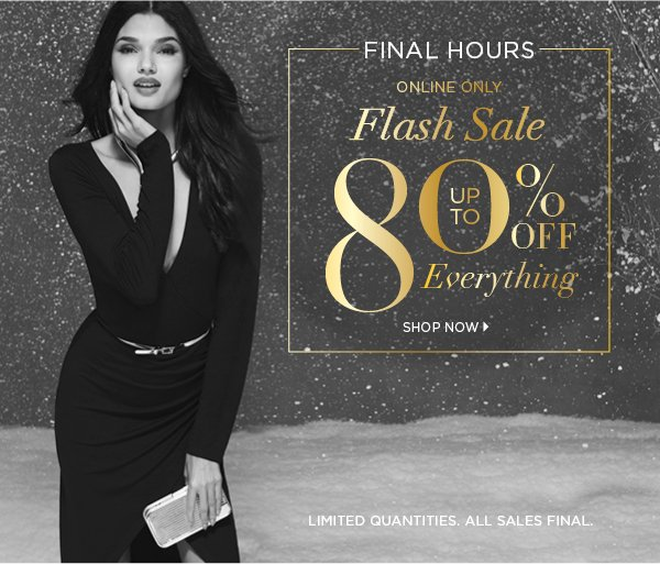 2d20726e24f FINAL HOURS ONLINE ONLY FLASH SALE Up to 80% Off Everything LIMITED  QUANTITIES. ALL