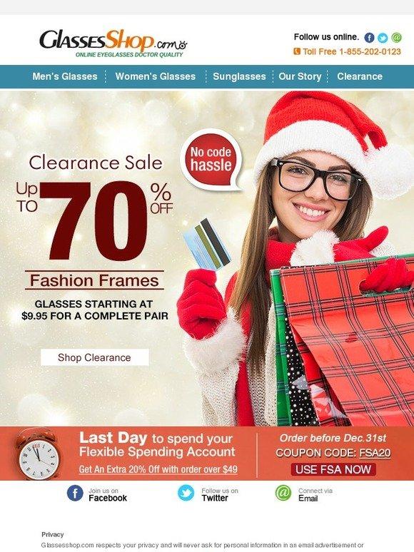 ad9de44fe2e4 GlassesShop.com  Clearance Sale Starts NOW!