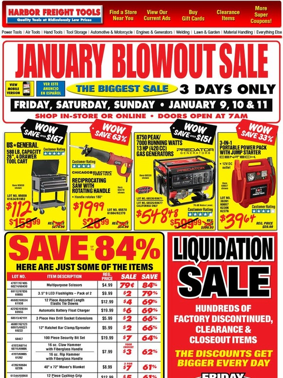 harbor freight january blowout sale starts friday 3 days only save up to 84 milled. Black Bedroom Furniture Sets. Home Design Ideas