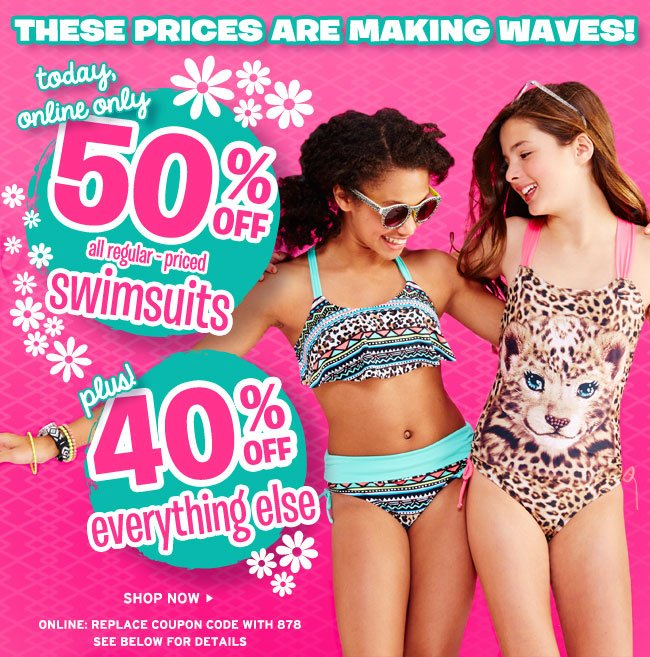 a0fccd1db Swim sale! 50% off regular-priced Swimsuits. Today only with code inside!